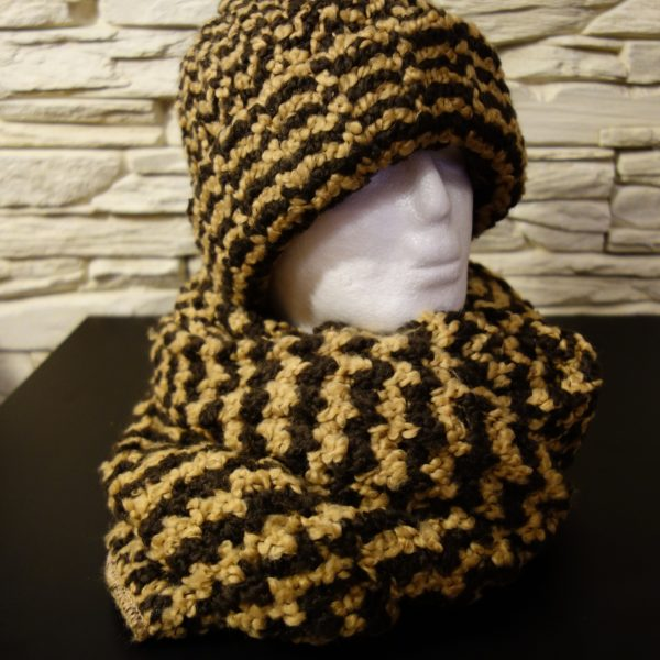Vlněná béžovo-hnědá čepice + šála  5975e269e6